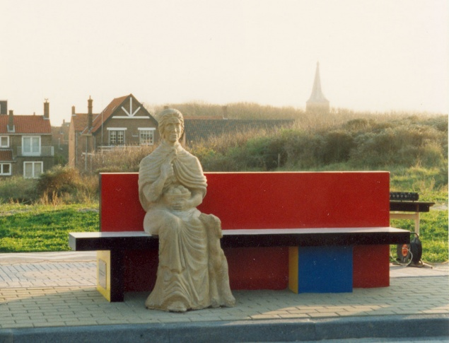 Mondrian Bench with Nehalennia Statue Domburg
