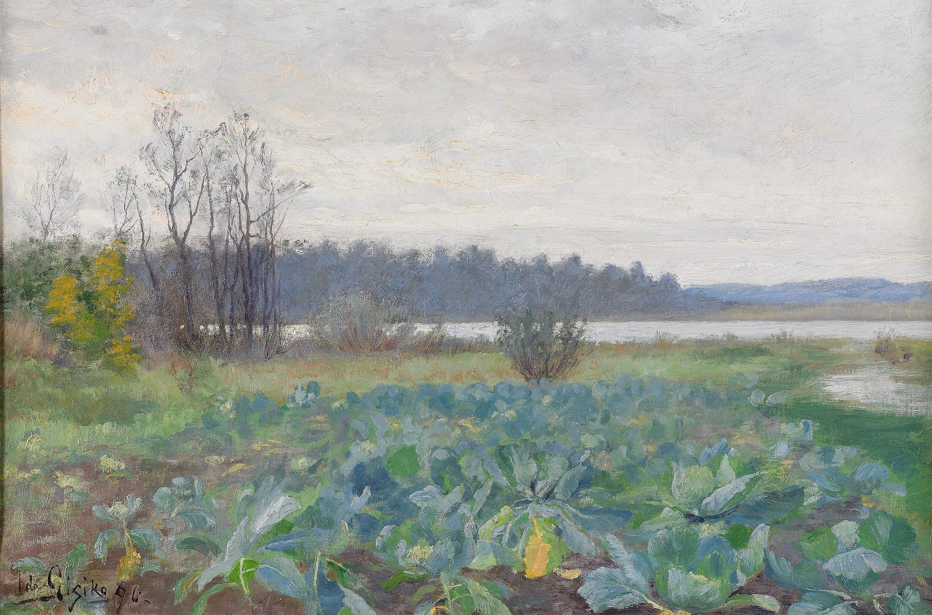 Ida Gisiko, The Cabbage field, 1890 oil