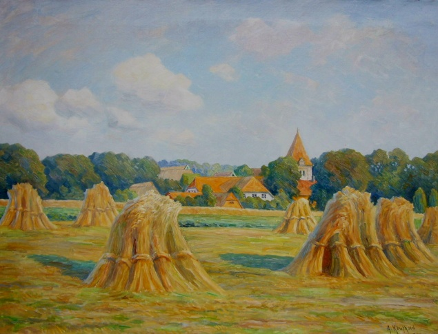 euroArt: Dötlingen, August Kaufhold: Kornfeld in Dötlingen