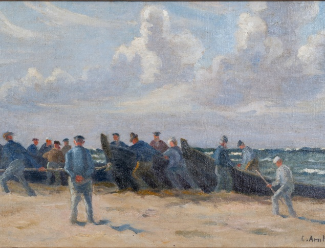 Clara Arnheim: Fischer am Strand, Oil on canvas, 355 x 53